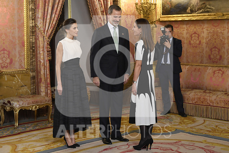 King Felipe VI of Spain (c) and Queen Letizia of Spain (l) receive Enviroment minister in Chile and President of COP25, Carolina Schmidt (r) because of the United Nations conference for the Climate Summit 2019 (COP25) at the Royal Palace. December 2,2019. (ALTERPHOTOS/Pool/Carlos Alvarez)
