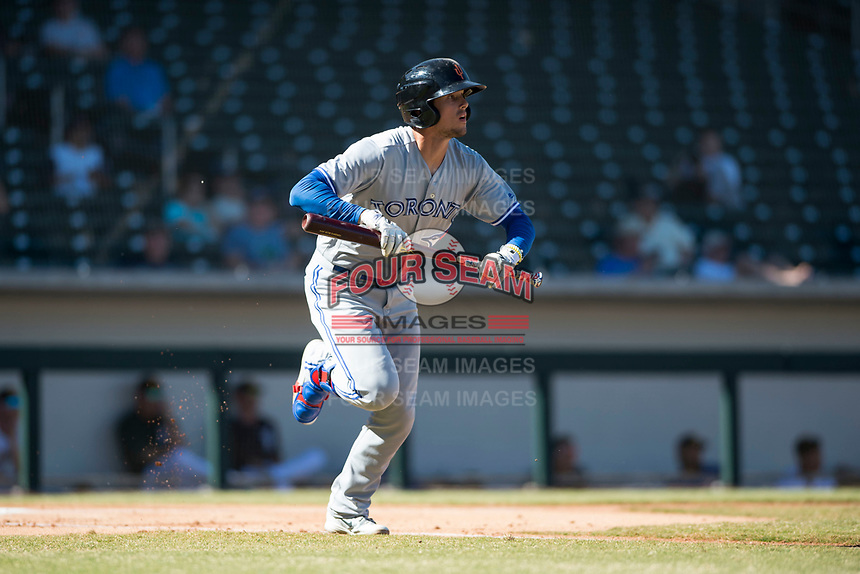 Surprise Saguaros designated hitter Cavan Biggio (26), of the Toronto Blue Jays organization, jogs towards first base after hitting a home run during an Arizona Fall League game against the Mesa Solar Sox at Sloan Park on November 1, 2018 in Mesa, Arizona. Surprise defeated Mesa 5-4 . (Zachary Lucy/Four Seam Images)