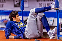 25 March 2019: Milwaukee Brewers outfielder Christian Yelich relaxes prior to an exhibition game against the Toronto Blue Jays at Olympic Stadium in Montreal, Quebec, Canada. The Brewers defeated the Blue Jays 10-5 in the first of two MLB pre-season games in the former home of the Montreal Expos. Mandatory Credit: Ed Wolfstein Photo *** RAW (NEF) Image File Available ***