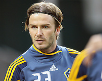 David Beckham (23) of the Los Angeles Galaxy during an MLS match against D.C. United at RFK Stadium, on April 9 2011, in Washington D.C. The game ended in a 1-1 tie.