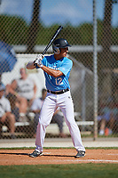 Andres Bordone during the WWBA World Championship at the Roger Dean Complex on October 19, 2018 in Jupiter, Florida.  Andres Bordone is an outfielder from Miami, Florida who attends Doral Academy Charter High School.  (Mike Janes/Four Seam Images)