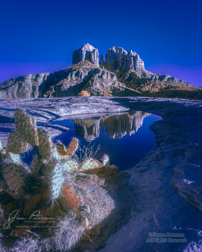 Cathedral Rock by Mystical Moonlight (Infrared).  This is one of the most photographed rocks in the USA, and one of the most common angles from which to capture it (just south of Sedona, Arizona).  But it's not likely you've ever seen it like this before, since - if you're reading this - you almost certainly don't have infrared eyes.  It was actually photographed in daylight, just before a winter sunset, but my infrared camera, collaborating with some artistic digital elves who clearly had their own ideas, turned it into a moonlit midsummer's nighttime image.<br /> <br /> Tech info: Nikon D3200 camera (modified for infrared with 590nm filter), Nikon 18-140mm lens at 18mm, 1/100 sec. at f11, ISO 200<br /> <br /> Image ©2021 James D. Peterson