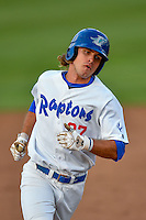 Pioneer League All-Star DJ Peters (27) of the Ogden Raptors rounds the bases after hitting a home run against the Northwest League All-Stars at the 2nd Annual Northwest League-Pioneer League All-Star Game at Lindquist Field on August 2, 2016 in Ogden, Utah. The Northwest League defeated the Pioneer League 11-5.  (Stephen Smith/Four Seam Images)