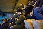 Edinburgh City 1 East Kilbride 1, 12/03/2016. Meadowbank Stadium, Scottish Lowland League. 'Groundhoppers' watching the action at Meadowbank Stadium during the final game of four Saturday fixtures as Edinburgh City take on East Kilbride in a Scottish Lowland League match which ended 1-1. The match was one of six attended by members of GroundhopUK over the weekend to accommodate groundhoppers, fans who attempt to visit as many football venues as possible. Around 100 fans in two coaches from England participated in the 2016 Lowland League Groundhop and they were joined by other individuals from across the UK which helped boost crowds at the six featured matches. Photo by Colin McPherson.