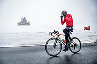 Rafael Valls (ESP/Bahrain - Victorious) coming over the Passo Giau<br /> <br /> due to the bad weather conditions the stage was shortened (on the raceday) to 153km and the Passo Giau became this years Cima Coppi (highest point of the Giro).<br /> <br /> 104th Giro d'Italia 2021 (2.UWT)<br /> Stage 16 from Sacile to Cortina d'Ampezzo (shortened from 212km to 153km)<br /> <br /> ©kramon
