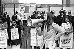 Grunwick Strike North London UK. 1977. Mrs Jayaben Desai, second left.<br /> The woman on the megaphone is with a delegation, one of dozens that came to the picket-line to offer support.<br /> <br /> Caption thanks to Graham taylor.