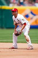 Jose Garcia (3) of the Springfield Cardinals on defense during a game against the Arkansas Travelers at Hammons Field on May 8, 2012 in Springfield, Missouri. (David Welker/ Four Seam Images).