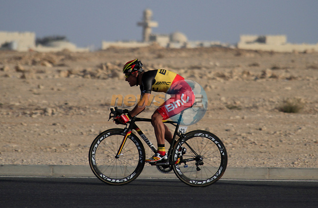 BMC Racing Team including Belgian Champion Philippe Gilbert (BEL) in action during the 2nd Stage of the 2012 Tour of Qatar an 11.3km team time trial at Lusail Circuit, Doha, Qatar. 6th February 2012.<br /> (Photo Eoin Clarke/Newsfile)