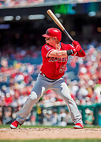 16 August 2017: Los Angeles Angels outfielder Kole Calhoun in action against the Washington Nationals at Nationals Park in Washington, DC. The Angels defeated the Nationals 3-2 to split their 2-game series. Mandatory Credit: Ed Wolfstein Photo *** RAW (NEF) Image File Available ***