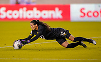 HOUSTON, TX - JANUARY 31: Sasha Fabrega #12 GK of Panama jumps on a loose ball during a game between Panama and USWNT at BBVA Stadium on January 31, 2020 in Houston, Texas.