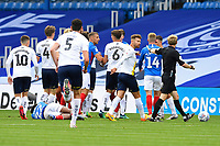 Things get heated as Ellis Harrison of Portsmouth lies on the ground after a heavy foul during Portsmouth vs Oxford United, Sky Bet EFL League 1 Play-Off Semi-Final Football at Fratton Park on 3rd July 2020