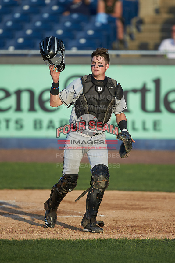 Fayetteville Woodpeckers catcher Michael Papierski (28) on defense against the Wilmington Blue Rocks at Frawley Stadium on June 6, 2019 in Wilmington, Delaware. The Woodpeckers defeated the Blue Rocks 8-1. (Brian Westerholt/Four Seam Images)