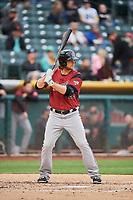Kyle Jensen (26) of the Sacramento River Cats bats against the Salt Lake Bees at Smith's Ballpark on April 19, 2018 in Salt Lake City, Utah. Salt Lake defeated Sacramento 10-7. (Stephen Smith/Four Seam Images)