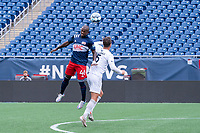 FOXBOROUGH, MA - JULY 4: Michel #48 of the New England Revolution II heads the ball near the Greenville Triumph SC goal during a game between Greenville Triumph SC and New England Revolution II at Gillette Stadium on July 4, 2021 in Foxborough, Massachusetts.