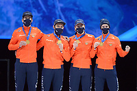 SPEEDSKATING: DORDRECHT: 07-03-2021, ISU World Short Track Speedskating Championships, Podium 5000m Relay, Daan Breeuwsma, Sjinkie Knegt, Jens van 't Wout, Itzhak de Laat (NED), ©photo Martin de Jong