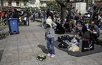 Pictured: Migrants in Victoria Square, Athens Monday 29 February 2016<br /> Re: Hundreds of migrants have been living in Victoria Square in central Athens Greece
