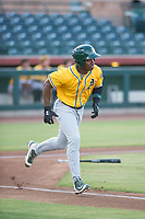 AZL Athletics designated hitter Lazaro Armenteros (28) singles in the first inning during a game against the AZL Giants on August 5, 2017 at Scottsdale Stadium in Scottsdale, Arizona. AZL Athletics defeated the AZL Giants 2-1. (Zachary Lucy/Four Seam Images)