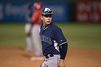 AZL Padres 2 first baseman Michael Suarez (23) during an Arizona League game against the AZL Angels at Tempe Diablo Stadium on July 18, 2018 in Tempe, Arizona. The AZL Padres 2 defeated the AZL Angels 8-1. (Zachary Lucy/Four Seam Images)