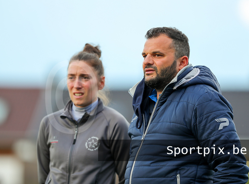 Head coach Audrey Demoustier of Woluwe and coach Tiziano Rutilo pictured before a female soccer game between Sporting Charleroi and White Star Woluwe on the 7 th matchday in play off 2 of the 2020 - 2021 season of Belgian Scooore Womens Super League , friday 14 th of May 2021  in Marcinelle , Belgium . PHOTO SPORTPIX.BE   SPP   Sevil Oktem