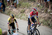Fabio Jakobsen (NED/Deceuninck - QuickStep) up the steepest part of the brutal Mas de la Costa: the final climb towards the finish<br /> <br /> Stage 7: Onda to Mas de la Costa (183km)<br /> La Vuelta 2019<br /> <br /> ©kramon