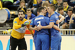 Ugra Yugorsk's Zviad Kupatadze, Katata, Vladislav Shayakhmetov, Dmitri Lyskov and Ivan Chishkala celebrate goal during UEFA Futsal Cup 2015/2016 Semifinal match. April 22,2016. (ALTERPHOTOS/Acero)