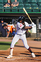 Jackson Generals shortstop Jazz Chisholm (3) at bat during a Southern League game against the Biloxi Shuckers on June 13, 2019 at The Ballpark at Jackson in Jackson, Tennessee. Jackson defeated Biloxi 5-4. (Brad Krause/Four Seam Images)