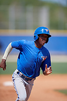 Toronto Blue Jays center fielder Reggie Pruitt (4) runs the bases during a minor league Spring Training game against the New York Yankees on March 30, 2017 at the Englebert Complex in Dunedin, Florida.  (Mike Janes/Four Seam Images)