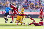 Abdallatif Albahdari of Palestine (L) gets tripped as he fights for the ball with Tom Rogic of Australia (C) during the AFC Asian Cup UAE 2019 Group B match between Palestine (PLE) and Australia (AUS) at Rashid Stadium on 11 January 2019 in Dubai, United Arab Emirates. Photo by Marcio Rodrigo Machado / Power Sport Images