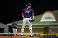 Lowell Spinners relief pitcher Mitchell Osnowitz (39) looks in for the sign during a game against the Batavia Muckdogs on July 12, 2017 at Dwyer Stadium in Batavia, New York.  Batavia defeated Lowell 7-2.  (Mike Janes/Four Seam Images)