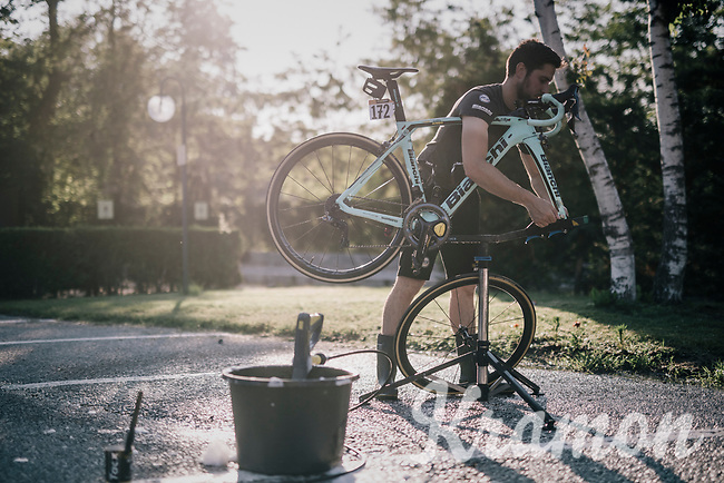 post-stage rituals: cleaning bikes with Team LottoNL-Jumbo after stage 18 of the 101th Giro d'Italia 2018