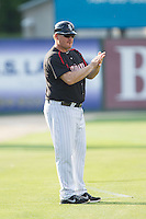 Kannapolis Intimidators manager Pete Rose Jr. (14) coaches third base during the game against the Hagerstown Suns at CMC-Northeast Stadium on May 31, 2014 in Kannapolis, North Carolina.  The Intimidators defeated the Suns 3-2 in game one of a double-header.  (Brian Westerholt/Four Seam Images)