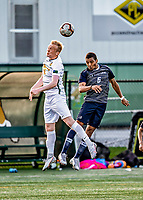 9 April 2021: University of Vermont Catamount Men's Soccer Defender Bjarni Aðalsteinsson, a Freshman from Akureyri, Iceland, in second-half action against the University of New Hampshire Wildcats at Virtue Field in Burlington, Vermont. The Catamounts fell to the visiting Wildcats 2-1 in America East, Division 1 play. Mandatory Credit: Ed Wolfstein Photo *** RAW (NEF) Image File Available ***