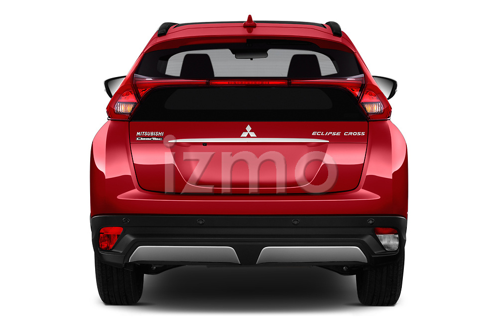 Straight rear view of a 2018 Mitsubishi Eclipse Cross Style 5 Door SUV stock images