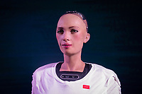 MADRID, SPAIN – MAY 04: The robot sophia located in the vote counting center located in IFEMA to inform people of the status of the voting on 4 May in Madrid, Spain.  (Photo by Joan Amengual / VIEWpress via Getty Images)