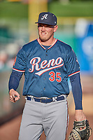 Kevin Cron (35) of the Reno Aces before the game against the Salt Lake Bees at Smith's Ballpark on June 26, 2019 in Salt Lake City, Utah. The Aces defeated the Bees 6-4. (Stephen Smith/Four Seam Images)