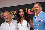 Austrian singer Conchita Wurst, Stonewall 45 president Alan Reiff (L) and presenter Boris Izaguirre (R) attend SHANGAY PRIDE and MADO Madrid Orgullo presentation and receives the Madrid Orgullo Muestra-T award in Madrid, Spain. July 03, 2013. (ALTERPHOTOS/Victor Blanco)