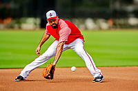 23 February 2019: Washington Nationals third baseman Anthony Rendon practices fielding grounders prior to a Spring Training game against the Houston Astros at the Ballpark of the Palm Beaches in West Palm Beach, Florida. The Nationals walked off with a 7-6 Opening Game win to start the Grapefruit League season. Mandatory Credit: Ed Wolfstein Photo *** RAW (NEF) Image File Available ***