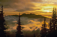 Fog and Klahhane ridge, Mt. Angeles at sunset, Olympic N.P., WA