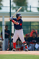 GCL Red Sox Daniel Bakst (48) bats during a Gulf Coast League game against the GCL Pirates on August 1, 2019 at Pirate City in Bradenton, Florida.  GCL Red Sox defeated the GCL Pirates 11-3.  (Mike Janes/Four Seam Images)