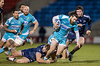 8th January 2021; AJ Bell Stadium, Salford, Lancashire, England; English Premiership Rugby, Sale Sharks versus Worcester Warriors; Oli Morris of Worcester Warriors is tackled by Sam Hill of Sale Sharks