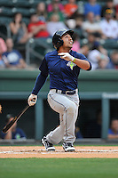 Left fielder Joe Tuschak (22) of the Columbia Fireflies bats in a game against the Greenville Drive on Thursday, April 21, 2016, at Fluor Field at the West End in Greenville, South Carolina. Columbia won, 13-9. (Tom Priddy/Four Seam Images)