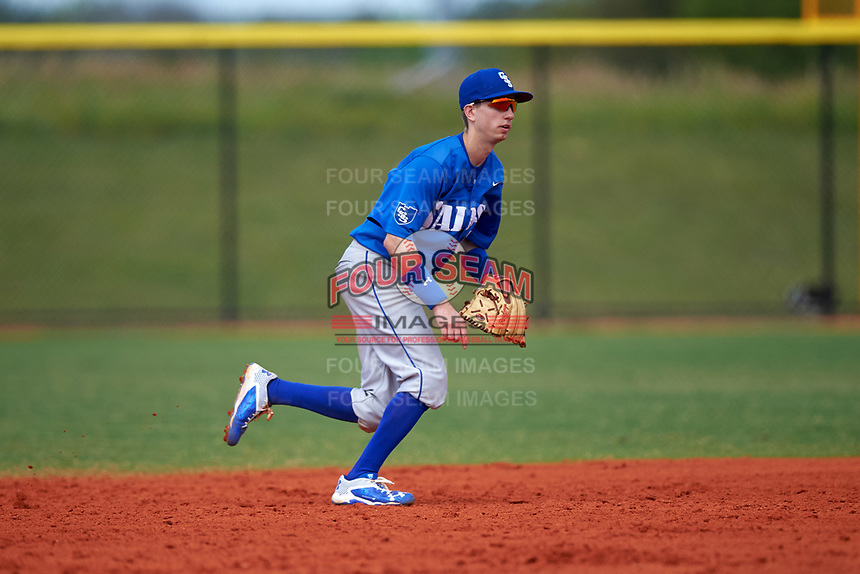 St. Scholastica Saints second baseman Al Marolt (11) during a game against the Southern Maine Huskies on March 20, 2016 at Lake Myrtle Park in Auburndale, Florida.  Southern Maine defeated St. Scholastica 5-3.  (Mike Janes/Four Seam Images)