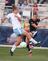 Abby Wambach (20) of the Washington Freedom blasts a shot past Ella Masar (3) of the Chicago Red Stars during a WPS match at Maryland Soccerplex on April 11 2009, in Boyd's, Maryland.  The game ended in a 1-1 tie.