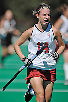 Stanford, CA - SEPTEMBER 27:  Defender Heather Alcorn #14 of the Stanford Cardinal during Stanford's 7-0 win over the Pacific Tigers on September 27, 2008 at the Varsity Field Hockey Turf in Stanford, California.