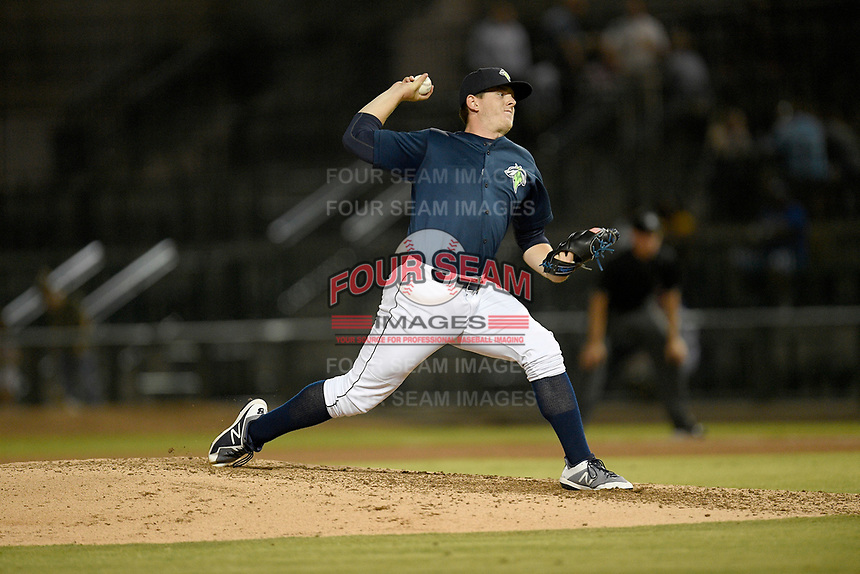 Pitcher Billy Oxford (18) of the Columbia Fireflies delivers a pitch in a game against the Rome Braves on Tuesday, June 4, 2019, at Segra Park in Columbia, South Carolina. Columbia won, 3-2. (Tom Priddy/Four Seam Images)