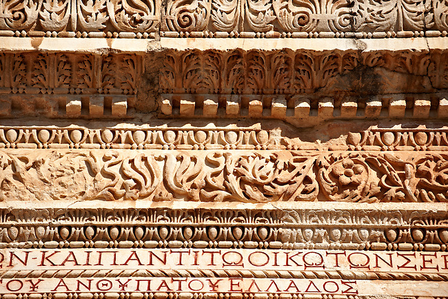 Architectural detail of The Bath Gymnasium complex of Sardis, a typical example of the colonnaded palaestra front of a Hellenistic 1st cent. AD Greco Roman baths of the western & southern region of Anatolia. Sardis archaeological site, Hermus valley, Turkey. A Harvard Art Museum excavation project.