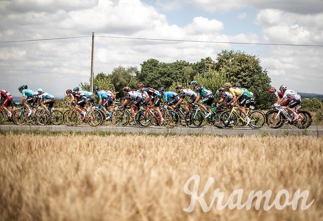 yellow jersey Greg Van Avermaet (BEL/BMC) in the peloton.<br /> <br /> Stage 5: Lorient > Quimper (203km)<br /> <br /> 105th Tour de France 2018<br /> ©kramon