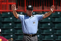 Umpire Sean Ryan calls time during a game between the Binghamton Mets and Erie Seawolves on July 13, 2014 at Jerry Uht Park in Erie, Pennsylvania.  Binghamton defeated Erie 5-4.  (Mike Janes/Four Seam Images)
