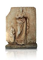 Roman Sebasteion relief  sculpture of Hygieia, Aphrodisias Museum, Aphrodisias, Turkey.   Against a white background.<br /> <br /> Hygieia, the goddess of Health, hold a flat bowl (phiale) from which she feeds a snake. The snake is wound twice around her forearm. A plump naked child sits on a square pedestal. Hygieia was the daughter of the healing god Asklepios, with whom she is paired here