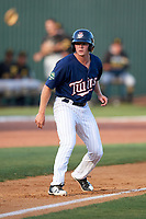 Elizabethton Twins left fielder Tyler Webb (30) leads off third base during a game against the Bristol Pirates on July 28, 2018 at Joe O'Brien Field in Elizabethton, Tennessee.  Elizabethton defeated Bristol 5-0.  (Mike Janes/Four Seam Images)